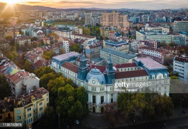 ソフィア、ブルガリア、東ヨーロッパの都市上の高角度ビュー-ストック画像 - ブルガリア ソフィア ストックフォトと画像