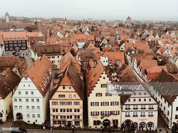 High angle view cityscape with rooftops, Rothenburg ob der Tauber, Bavaria, Germany