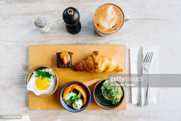 High angle view flat lay view of breakfast in a cafe
