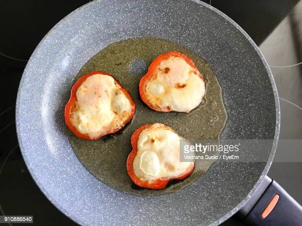 High Angle View Food In Frying Pan On Table