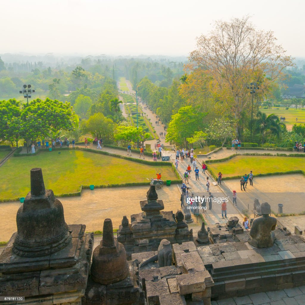 High angle view from Borobudur, Indonesia : ストックフォト