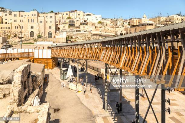 High angle view from the elevated walkway on the Western Wall Plaza in the Old City of Jerusalem, Israel.