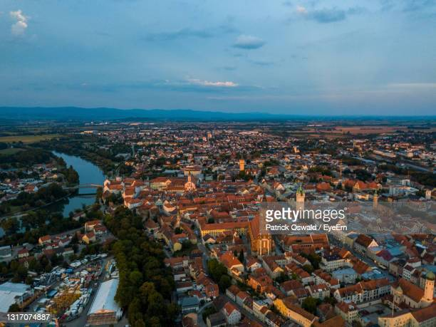 high angle view from the town straubing - straubing stock pictures, royalty-free photos & images