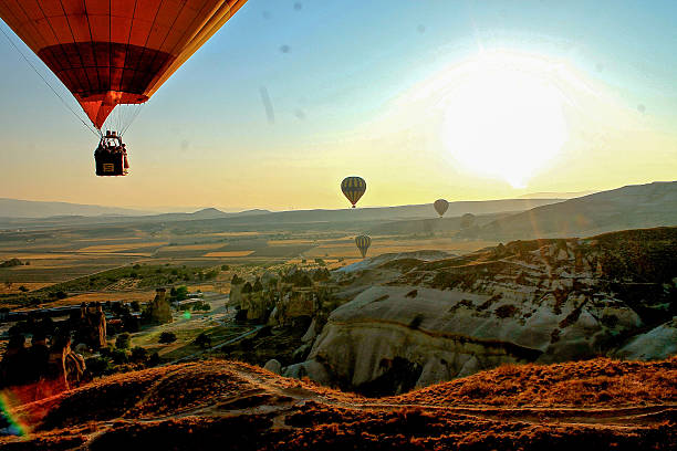 High Angle View Hot Air Balloons Against Sky At Sunset Wall Art