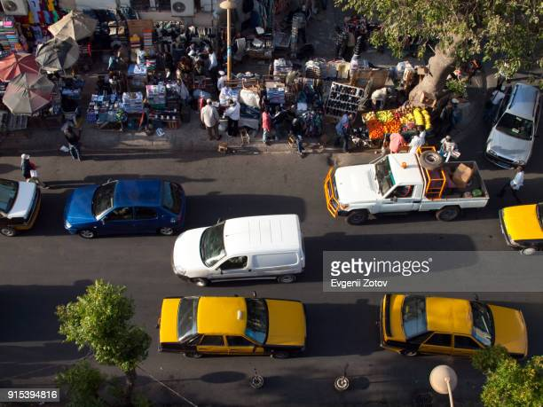 high angle view image of street in dakar city, senegal - dakar fotografías e imágenes de stock