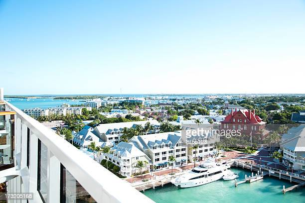 high angle view. key west florida. cruise ship balcony. docks. - key west stock photos and pictures