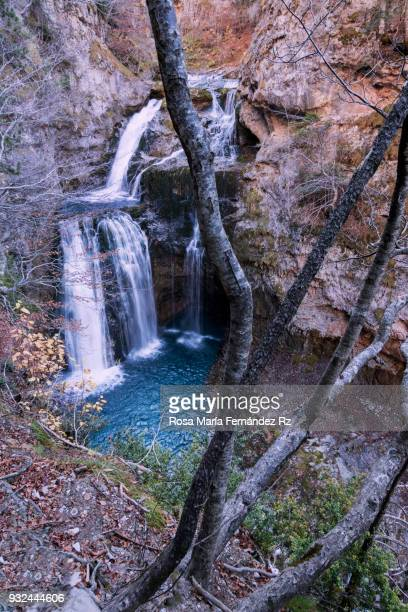 High angle view  'La Cueva' waterfall in Ordesa y Monte Perdido National Park in autumn, Huesca, Pais Vasco, Northern of Spain, Europe