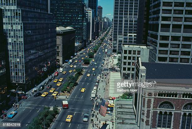 A high angle view looking north from the Waldorf Hotel of Park Avenue New York City USA July 1991