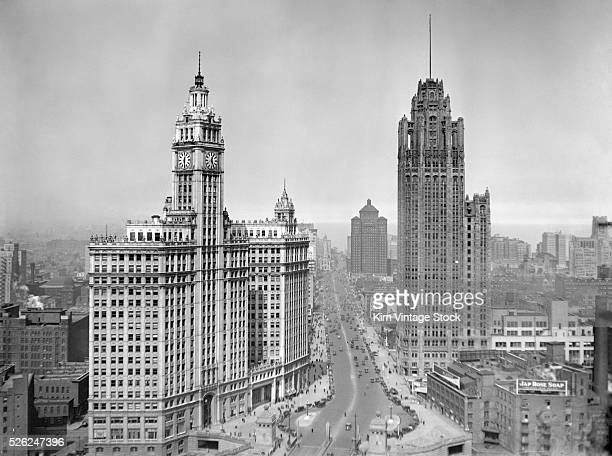 HIgh angle view looking north up Michigan Avenue Wrigley Building is the left Tribune Tower is on the right and The Allerton Hotel is further up...
