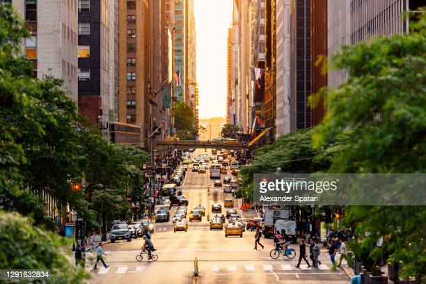 high angle view of 42nd street at sunset, new york city, usa - new york city stock pictures, royalty-free photos & images