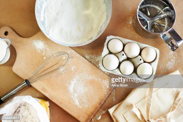 High angle view of a bakers table. Debica, Poland