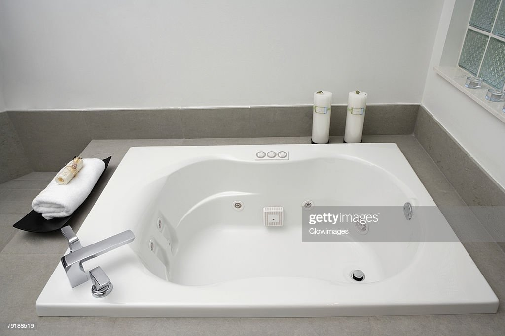 High angle view of a bathtub in the bathroom : Foto de stock