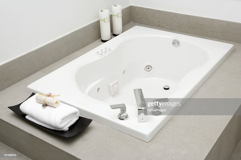 High angle view of a bathtub in the bathroom : Stock Photo