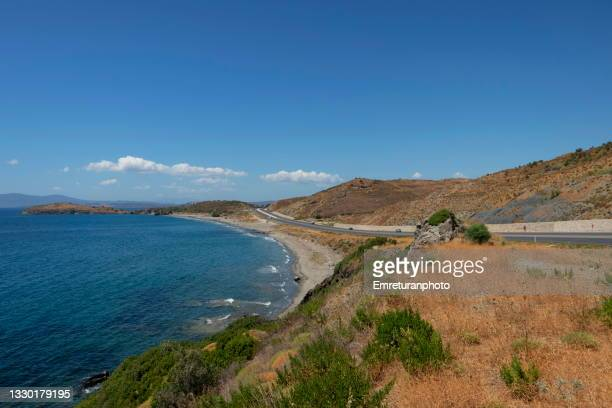 high angle view of a beach at seferihisar on a sunny day. - emreturanphoto stock pictures, royalty-free photos & images