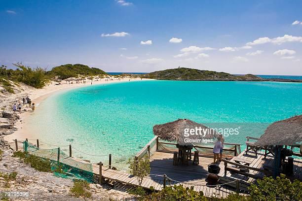 High angle view of a beach, Exuma, Bahamas