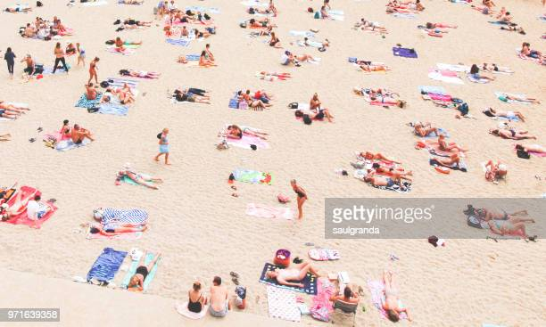 high angle view of a beach full of people - biarritz stock pictures, royalty-free photos & images