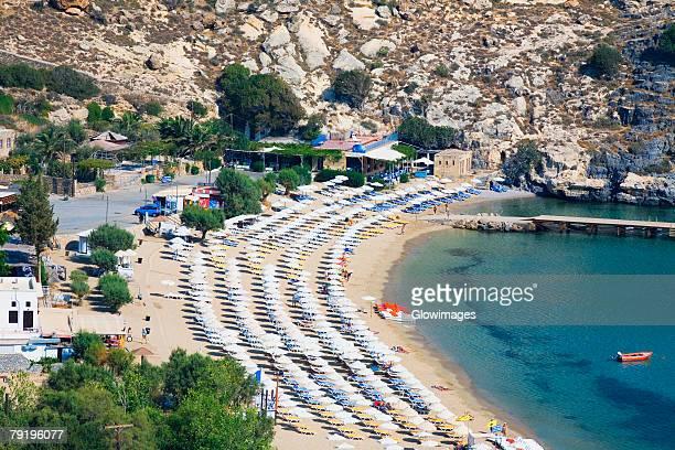 high angle view of a beach, lindos, rhodes, dodecanese islands, greece - lindos stockfoto's en -beelden