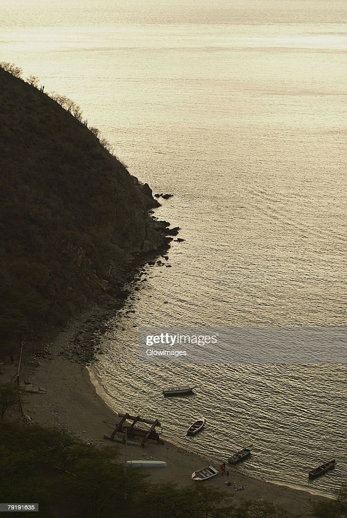 High angle view of a beach, Taganga Bay, Magdalena, Colombia : Stock Photo