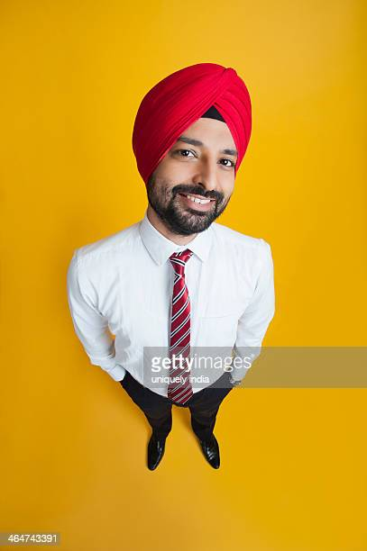 High angle view of a businessman smiling