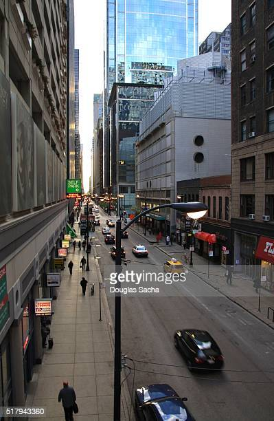 High angle view of a busy downtown street, Chicago, Illinois, USA