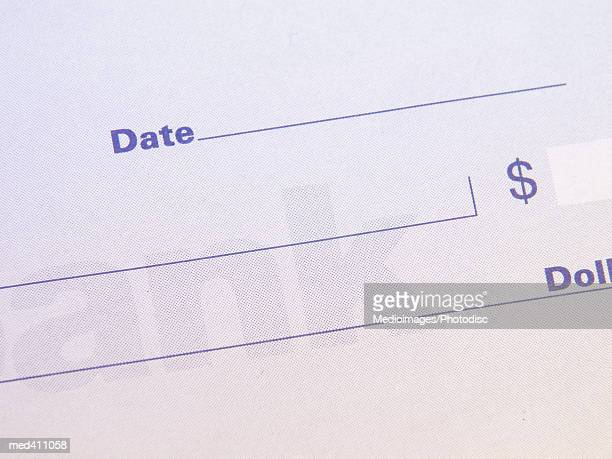 High angle view of a check