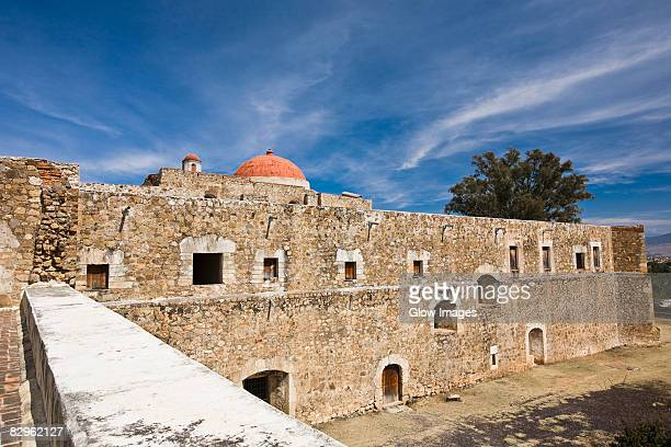 high angle view of a church, cuilapan monastery, oaxaca, oxaca state, mexico - cuilapan stock photos and pictures