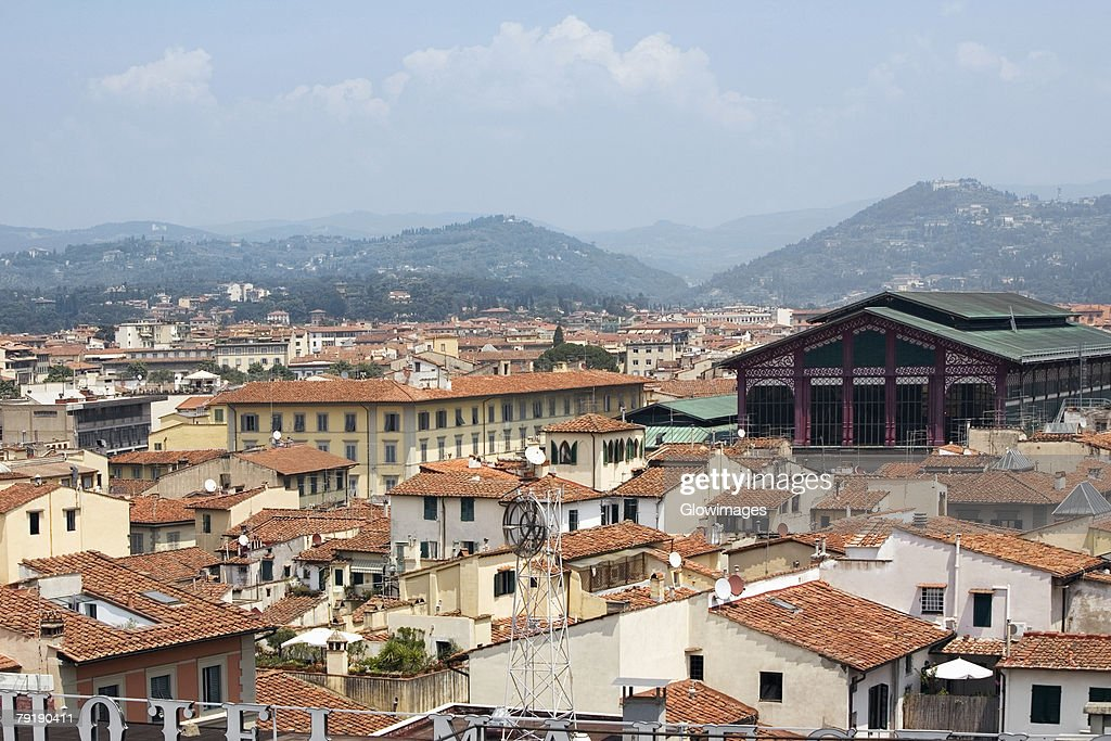 High angle view of a city, Mercato Centrale, Florence, Tuscany, Italy : Foto de stock