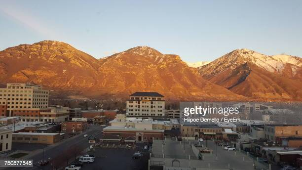 high angle view of a city - provo stock pictures, royalty-free photos & images