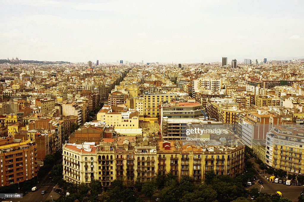 High angle view of a cityscape, Barcelona, Spain : Stock Photo
