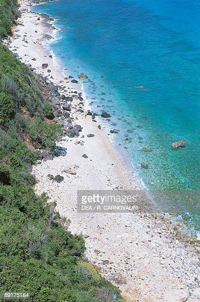 High angle view of a coast Cala Fuili Gennargentu National Park Gulf of Orosei Sardinia Italy