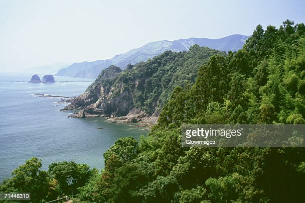 High angle view of a coastline, Kochi, Shikoku, Japan