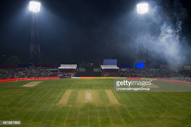 High angle view of a cricket field under floodlights Captain Roop Singh Stadium Gwalior Madhya Pradesh India