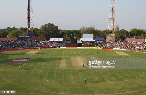 High angle view of a cricket match in progress Captain Roop Singh Stadium Gwalior Madhya Pradesh India