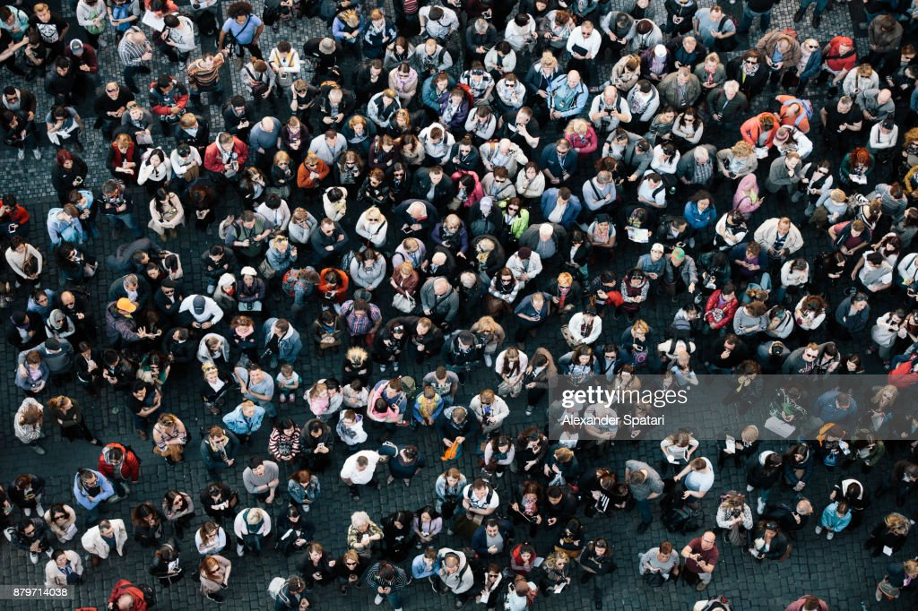 High angle view of a crowded square : Stock-Foto