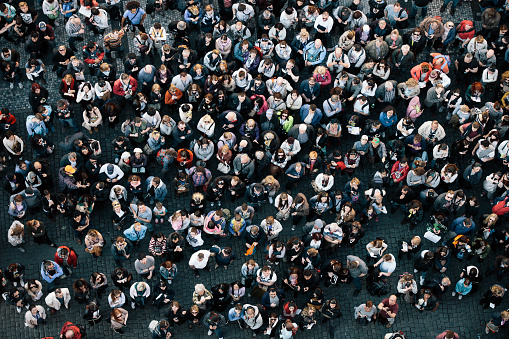 High angle view of a crowded square - gettyimageskorea