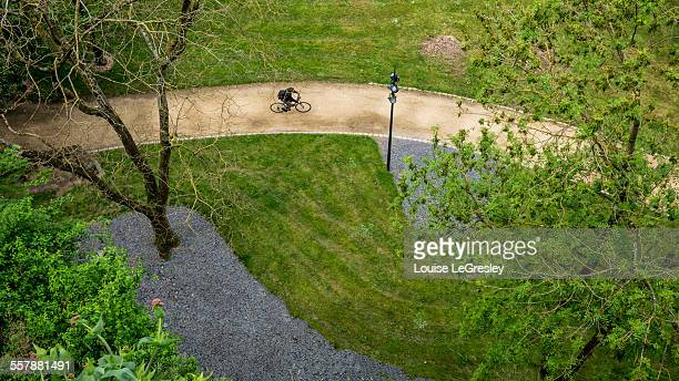 High angle view of a cyclist on a path