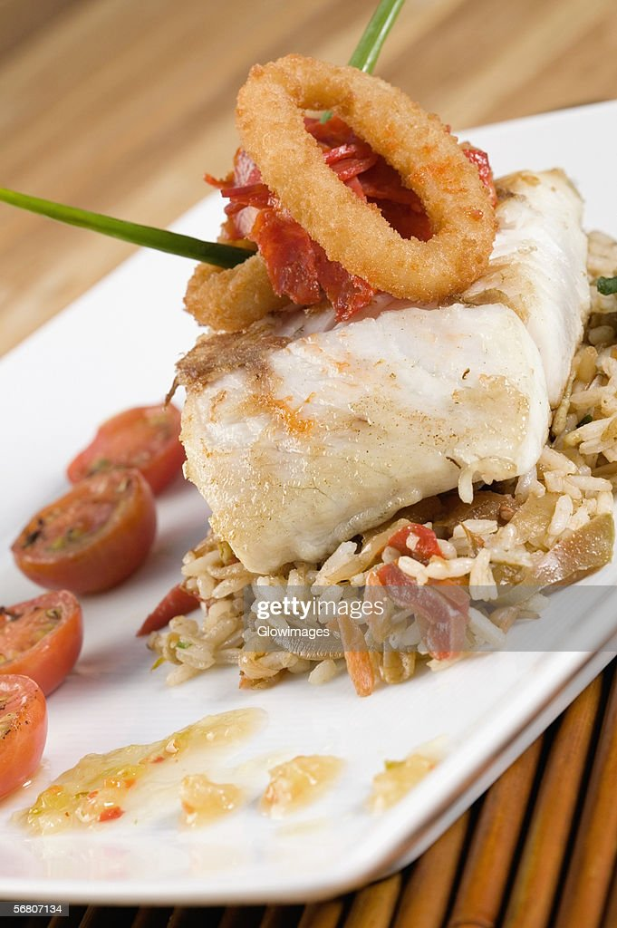 High angle view of a dish in a plate : Stock Photo