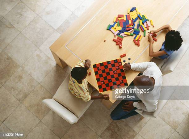 high angle view of a father and his son playing