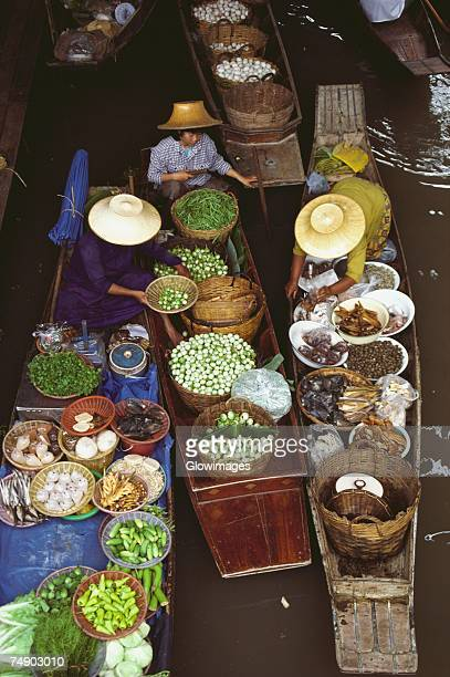 High angle view of a floating market, Bangkok, Thailand