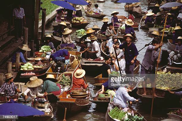 High angle view of a floating market, Bangkok, Thailand