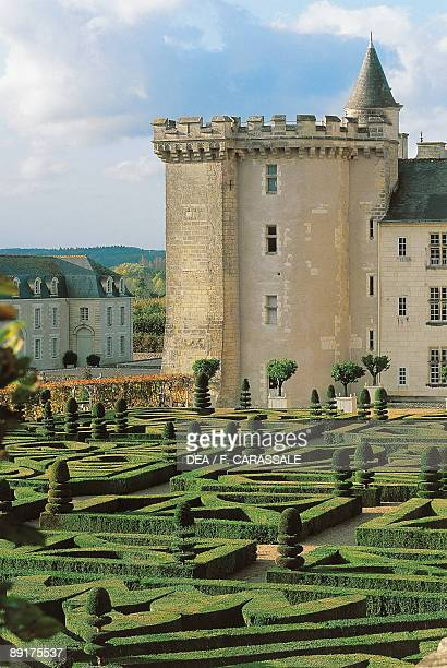High angle view of a formal garden in front of a castle Villandry Centre France