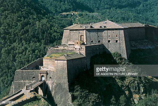High angle view of a fort Exilles Susa Valley Piedmont Italy