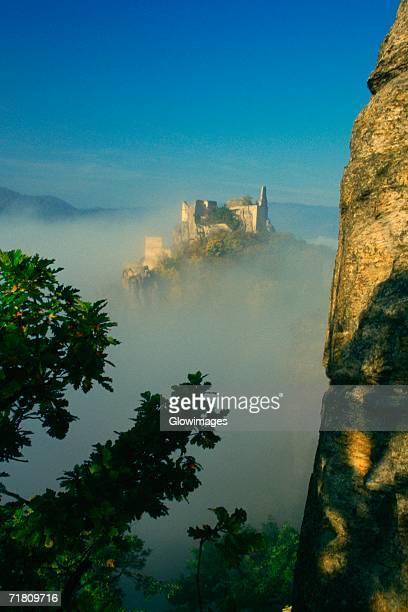 High angle view of a fort overcast by fog, Durnstein, Wachau, Austria