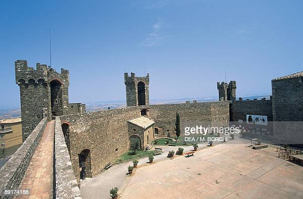 High angle view of a fortress Orcia Valley Montalcino Tuscany Italy