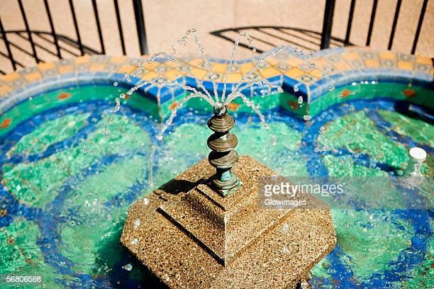 High angle view of a fountain, Plaza de Panama Fountain, Balboa Park, San Diego, California, USA