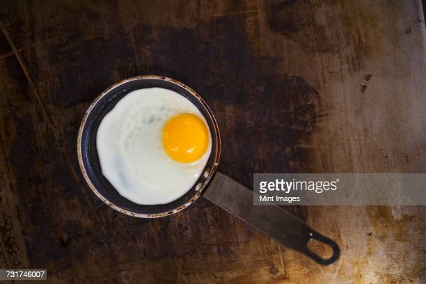High angle view of a fried egg in a frying pan.