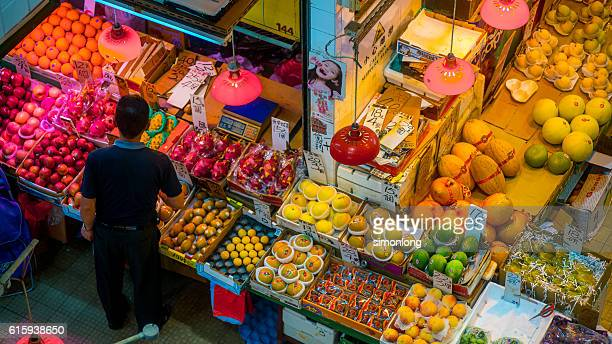 High Angle View of a Fruit Vender in Hong Kong