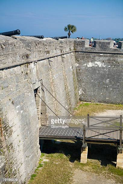 high angle view of a gate, castillo de san marcos national monument, st. augustine, florida, usa - castillo de san marcos stock photos and pictures