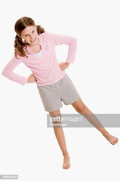 high angle view of a girl frowning - shorts stock pictures, royalty-free photos & images