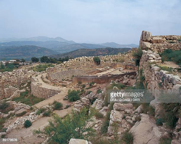 High angle view of a graveyard Mycenae Peloponnesus Greece